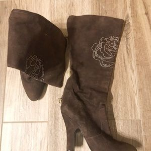 BETSEY JOHNSON brown suede rhinestone tall boots